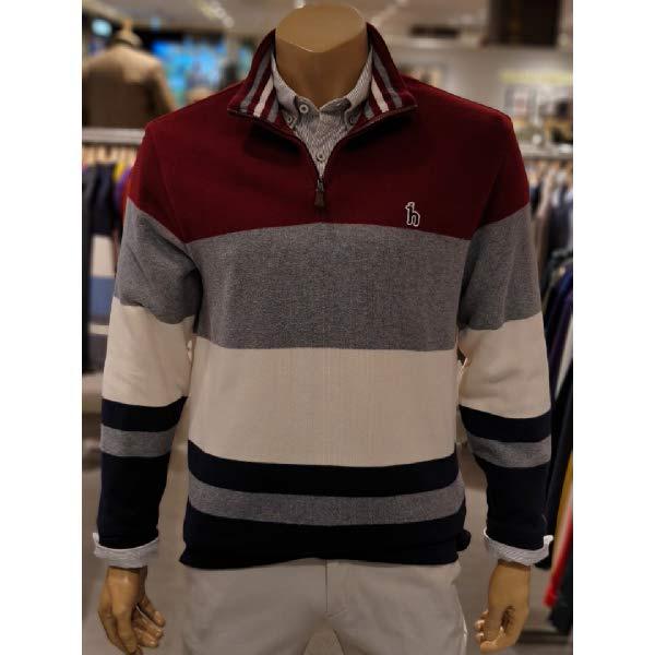[현대백화점]헤지스남성 (HAZZYS MEN) 20년 F W HZTS0D531 R2 레드 컬러블록 면 긴팔 반집업 티셔츠