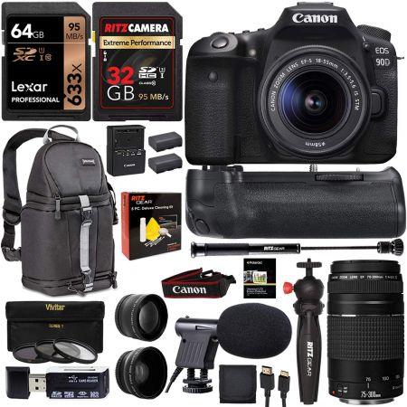 [아마존베스트]Canon 90D DSLR Camera with 18-55mm (3616C009) and 75-300mm Lenses Plus Power Grip 4K, One Color_One Size