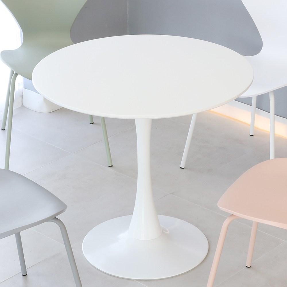 THEJOA 유니 화이트 원형 식탁 테이블 600 800 1000 사이즈 2인용 4인용, 유니테이블 1000원형