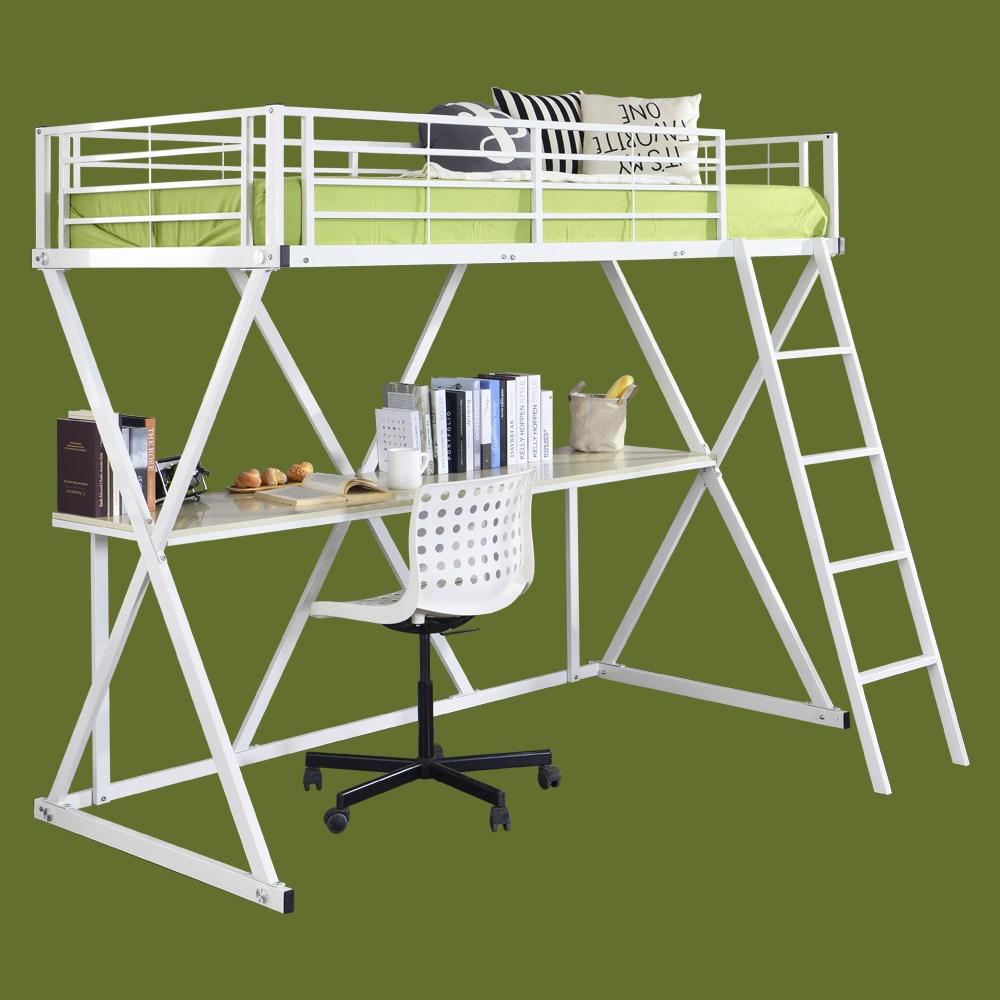 홈페리 씨엘 벙커침대(책상 매트리스 포함) 벙커침대 이층침대 2층침대 철제침대 철재침대, 씨엘 벙커침대 화이트