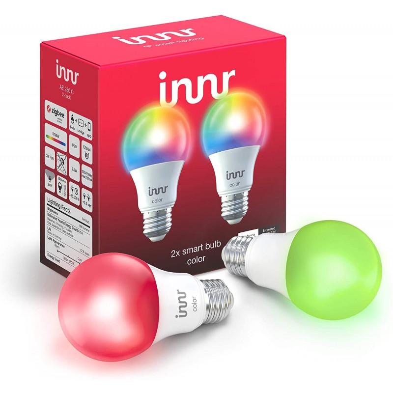 Innr Smart Bulb Color A19 Philips Hue SmartThings Alexa Google Home (허브 필요) 조광 가능 RGB, 단일상품, 단일상품