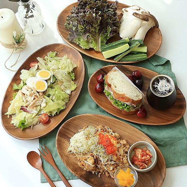 맛있는유혹 아카시아 나무 타원형 접시