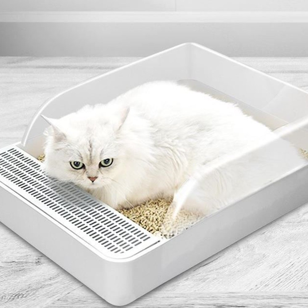 Product Image of the 꼬랑댕이 고양이 화장실 사각 배변통 대형, 화이트