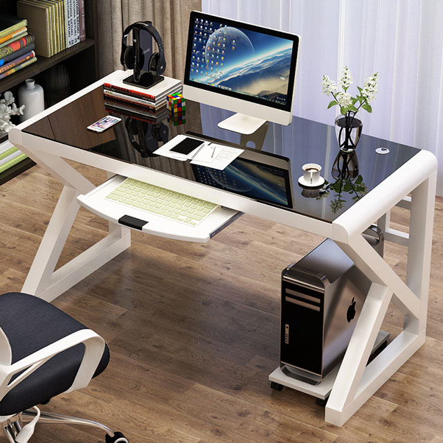 데스크탑책상 게이밍책상 사무실Desk 게임데스크책상, 흰색+검정