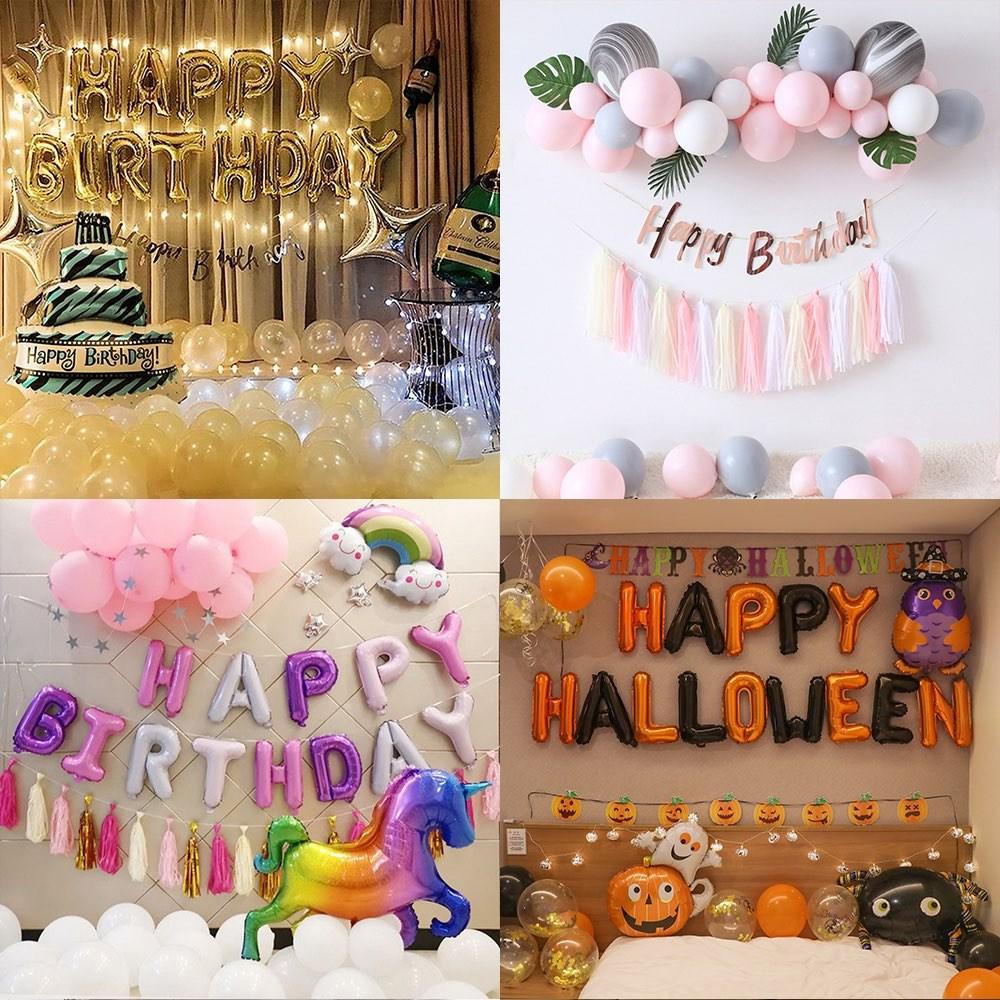 [루이스벨라] 생일파티용품 세트 홈파티 패키지 풍선 소품 꾸미기 루이스벨라, 1세트, - 심플세트 (민트)