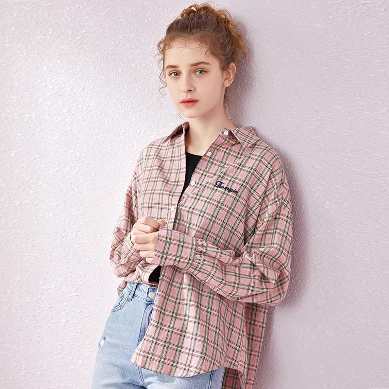 여자셔츠 체크무늬 셔츠 여성긴소매 봄가을 2019신상 루즈핏 자수 빈티지 봄옷 벌룬소매
