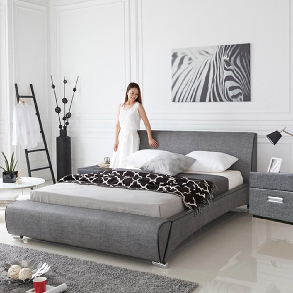 웰퍼니쳐 시그니처 가죽 슈퍼킹 디자인 침대(프레임+매트리스), 멜란지블랙