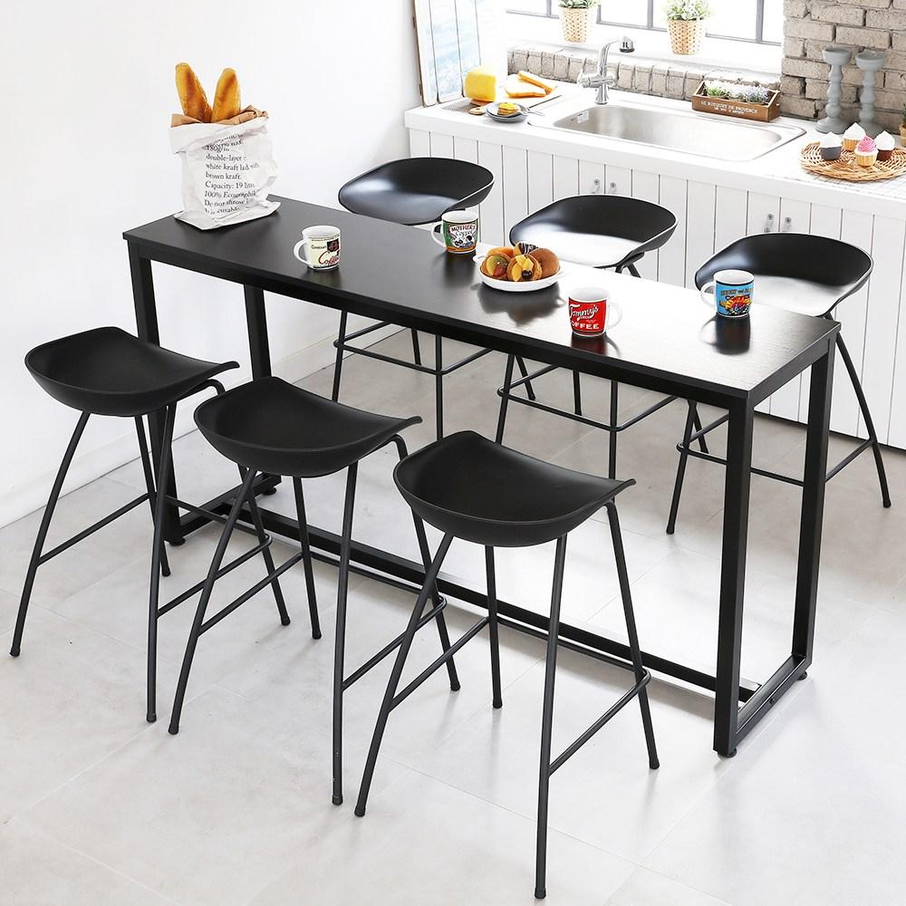 THEJOA [더조아] 홈바테이블 높은테이블 카페 인테리어 아일랜드식탁 홈바테이블 콘솔, 1800 블랙