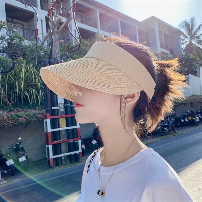 그물 레드 인 라피아 모자 여성 여름 자외선차단 빈 상단 햇빛차단 수입 천연 토플리스
