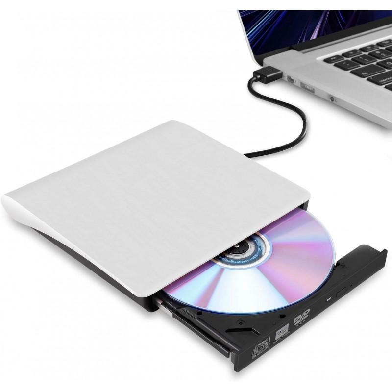블루레이 노트북용 외장 CD/DVD 드라이브 MacBook Pro/Air iMac 데스크톱 Windows 7/8/10/XP/Vista(화이트):, 단일옵션