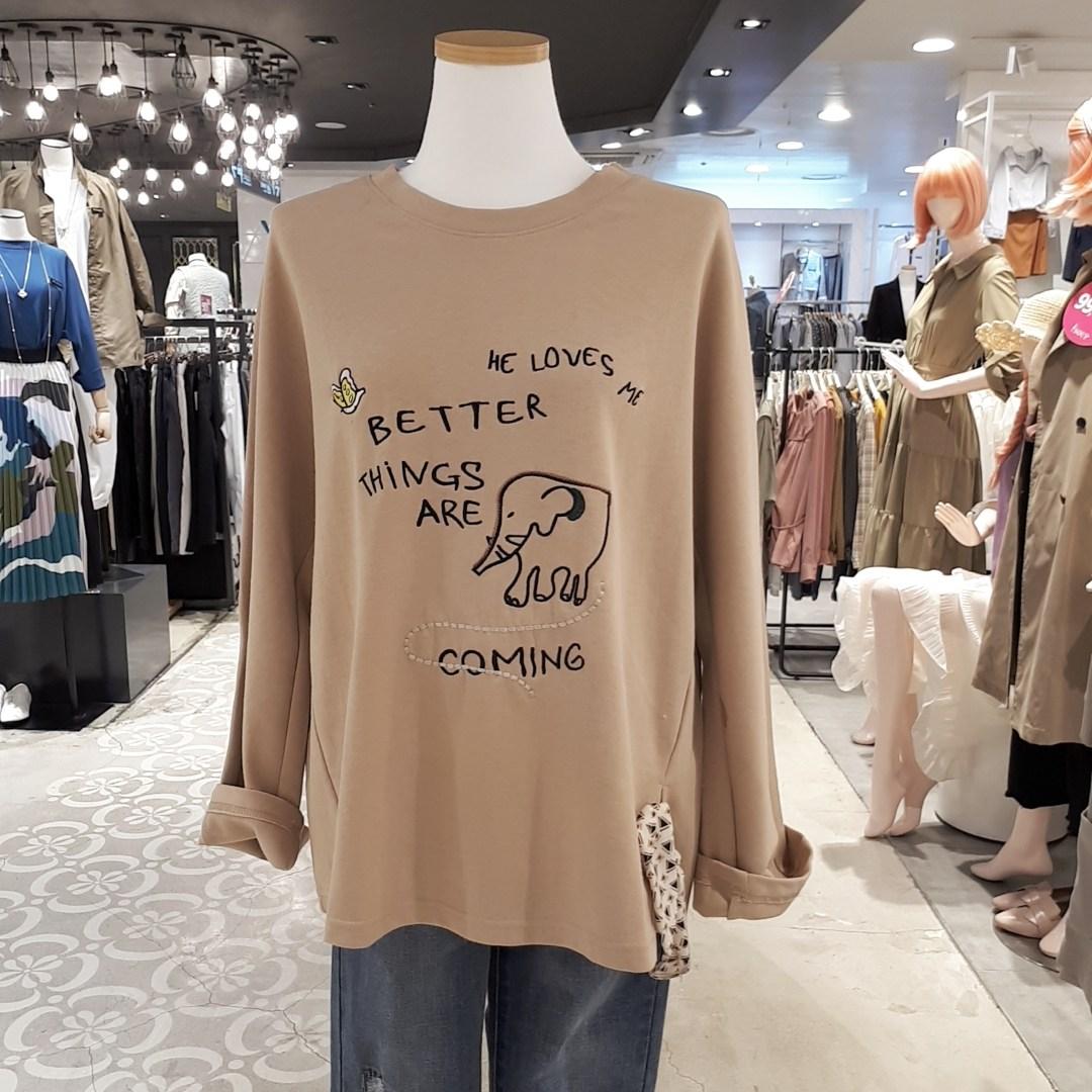 비지트인뉴욕 Nc경산 스카프장식 루즈핏 가을 티셔츠kv9lta1j