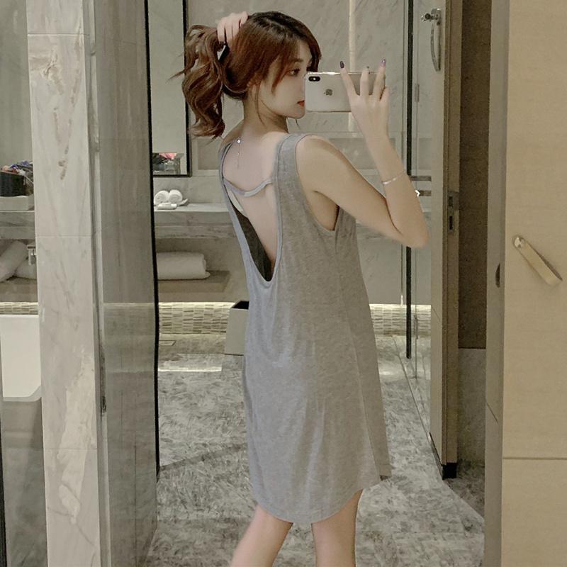 슬립 치마잠옷 여성여름옷 민소매 섹시한 등이드러나는스타일 잠옷 모달면 여름 얇은타입 조끼 스커트끈 홈웨어