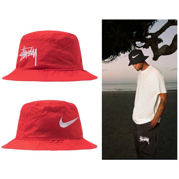 [미국 정품]Nike/Stussy 나이키 스투시 버켓 햇 레드 사이즈 S/M Bucket Hat Red Size S/M