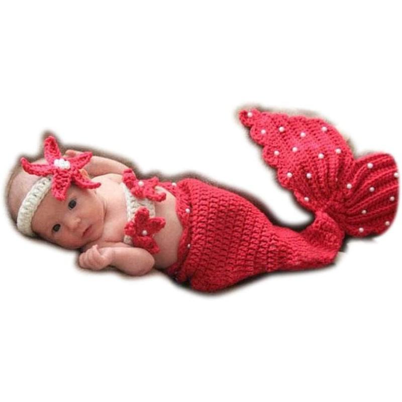 아기 사진 의류 3 점 세트 신생아 잠버릇 아트 인어 의상 모사 촬영 의류 아기 탄생 기념 출산 선물 (레