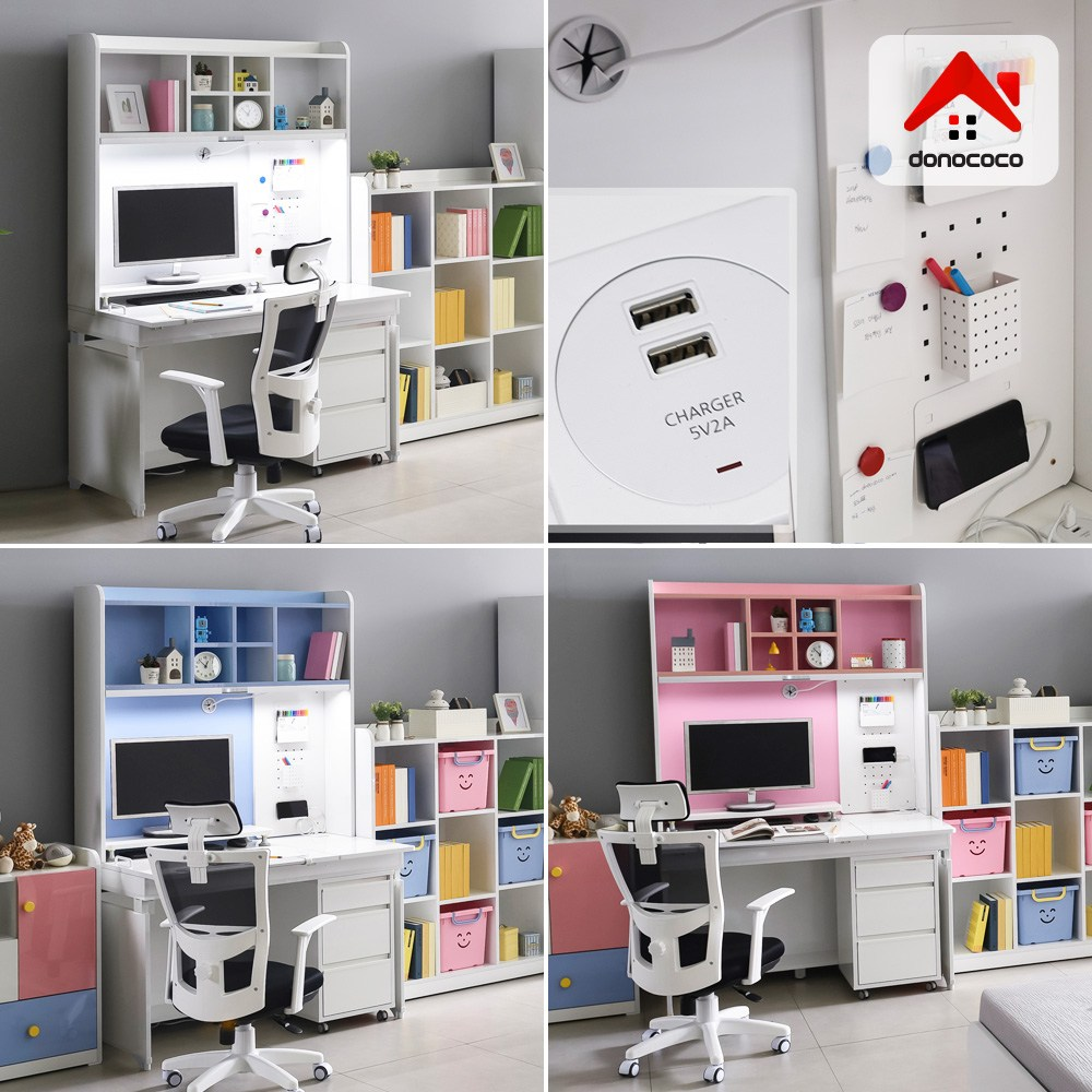 도노코코 도로시 1인용 각도조절 책상+3단서랍장+스탠드세트, 핑크