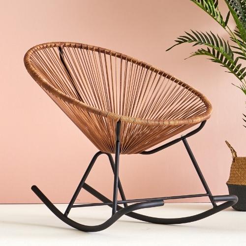하늘창가구 뉴 코드스윙체어 아카폴코 흔들의자 실내 라탄의자 안락의자 라탄흔들의자 야외의자, 뉴 코드스윙체어-커피