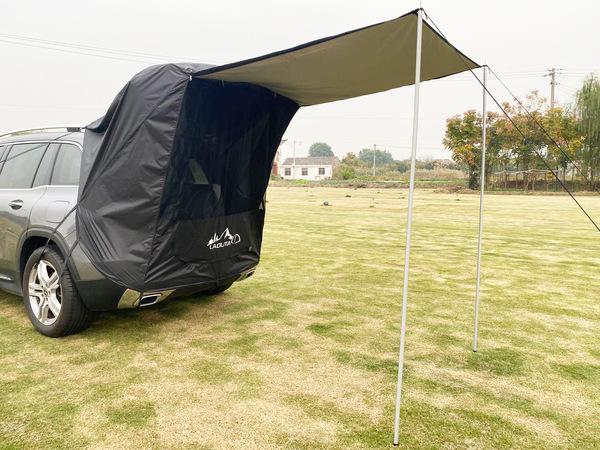 [고급] 차박 SUV 카 테일 텐트 아웃 도어 자율 주행 투어 바베큐 캠핑 연장 선크림 트렁크 텐트 카 텐트, 블랙 (철관 포함) (POP 5613917472)