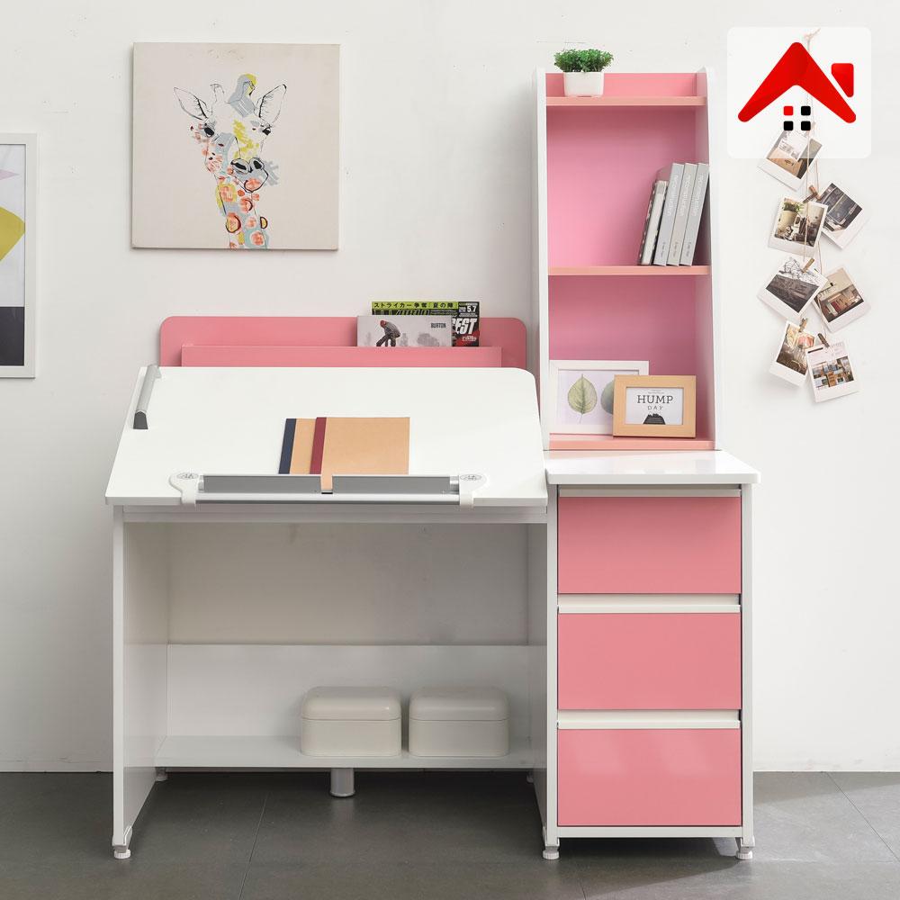 도노코코 베벨 1인용 각도조절책상+800가드형책꽂이+400미니책장, 핑크
