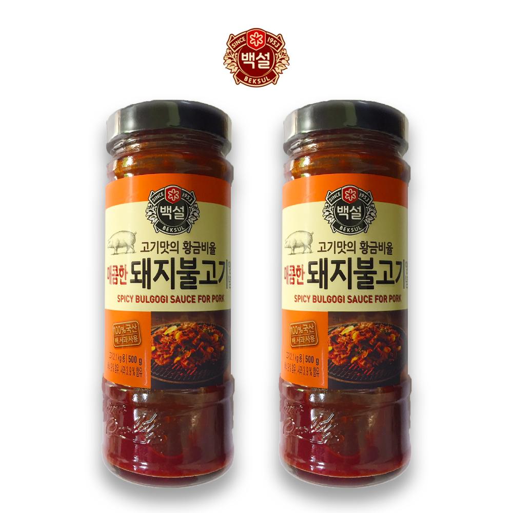 예이니식품 CJ 백설 매콤한 돼지불고기 양념 2개(500gx2개) 간편요리조림볶음, 500g, 2개