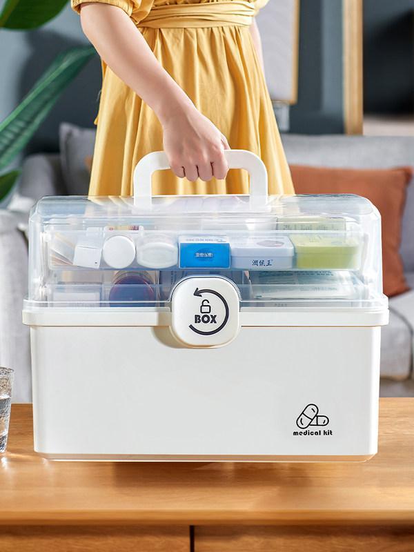 이퍼피 약상자 가정용 약품수납함 의약상자 대용량 구급상자, 2번 대형 하얀색 1개 (POP 4389381026)
