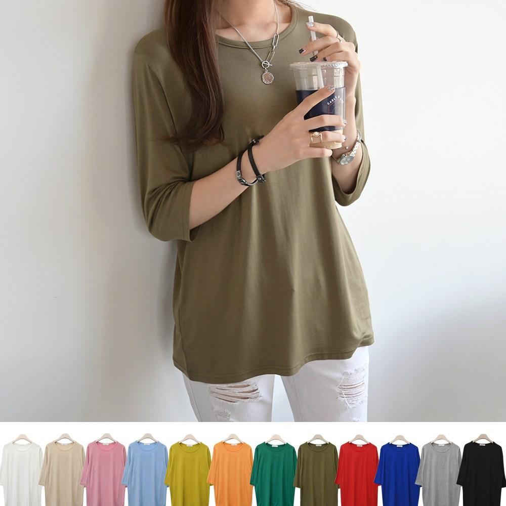 데일리앤 여성용 루즈핏 레이온 베이직 7부 티셔츠 1+1