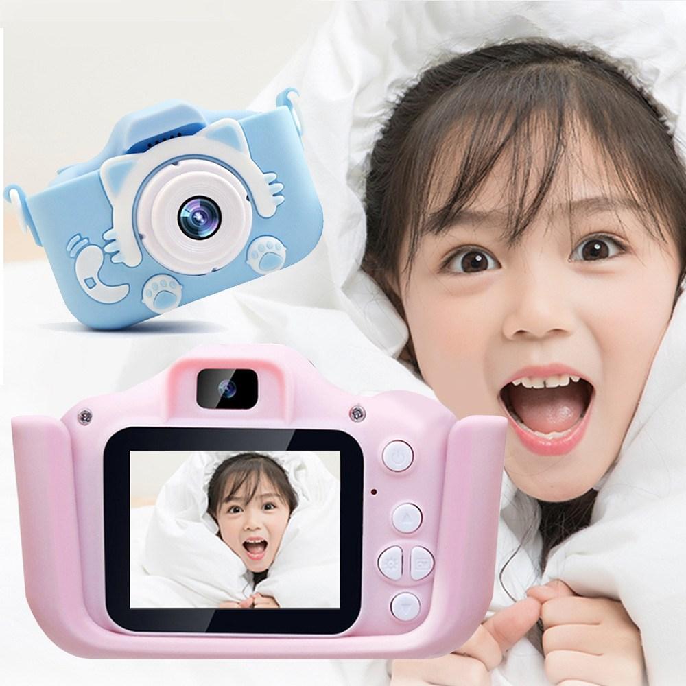 어린이 고양이 카메라 키즈 디지털카메라 어린이날 선물, 블루+16G 카드