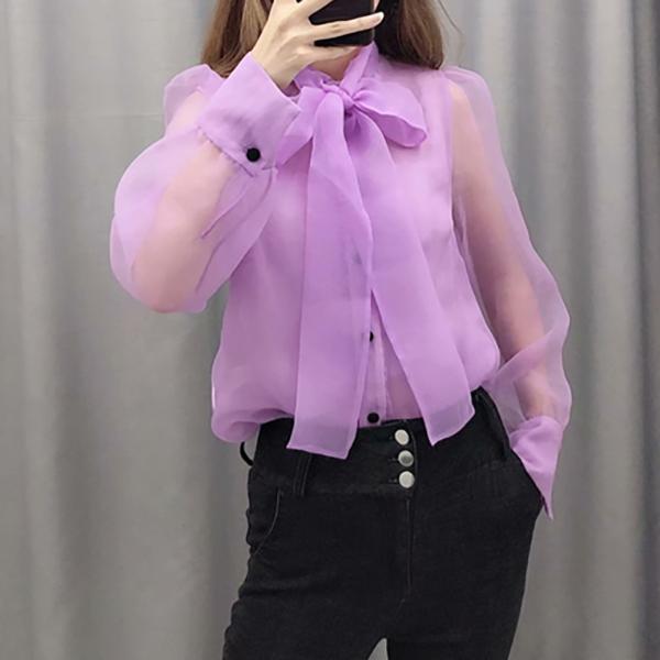 센슈얼드림 여성 시스루 오간자 리본 블라우스 셔츠 쉬폰 하객 파티 3K 사은품증정