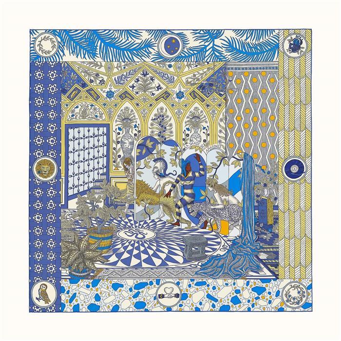 에르메스 까레 아마조네스 스카프 Bleu Gold Creme