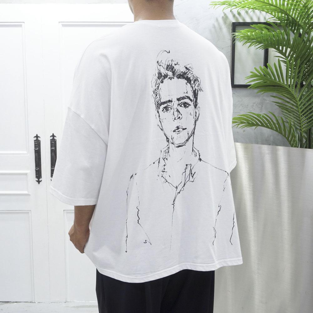 고천 남녀공용 박스 오버핏 7부 반팔 티셔츠