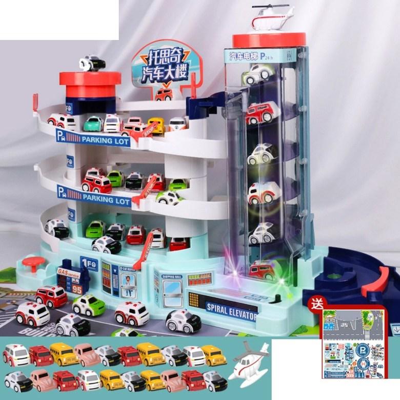 5층 대형 장난감 주차 타워 자동 엘리베이터 전동 컨트롤 작동 선물 서프라이즈 휴대폰 끊는법, 오버사이즈 주차장+LED+차20+비행기1