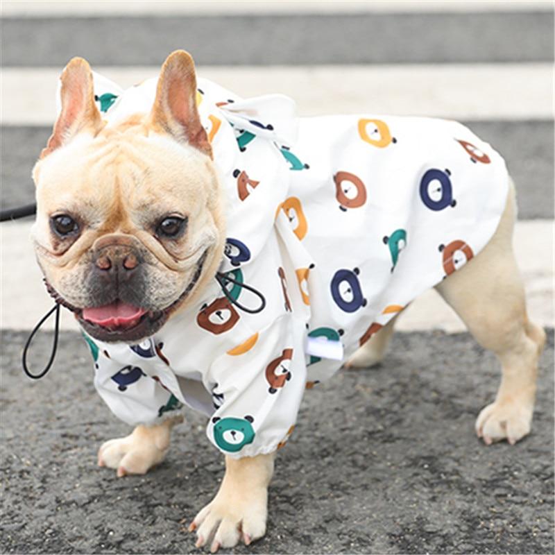 반려견 비옷 퍼그 프렌치 불독 의류 방수 의류 개 비 재킷 푸들 비숑 슈나우저 웰시 코기 레인 코트, 01_WHITE