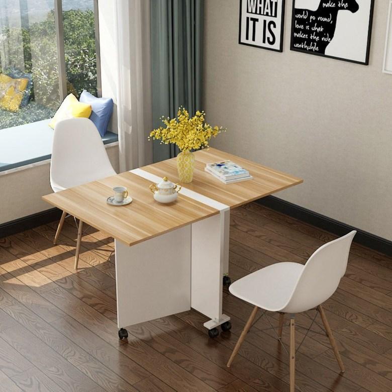접이식 틈새 식탁 테이블 좁은 주방 이동식 보조조리대, 따뜻한 흰색 80 * 50 * 65 이동식 호두