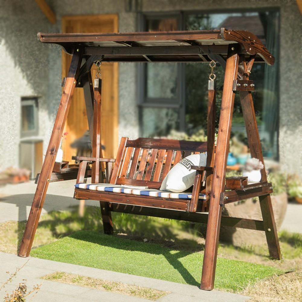 나무 그네 조립식 옥상 흔들의자 실외 원목 정원용 마당 야외용, 천장 그네 방석 포함