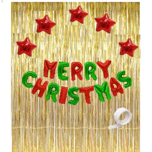 크리스마스 별 커튼세트, 레드 + 골드, 1세트