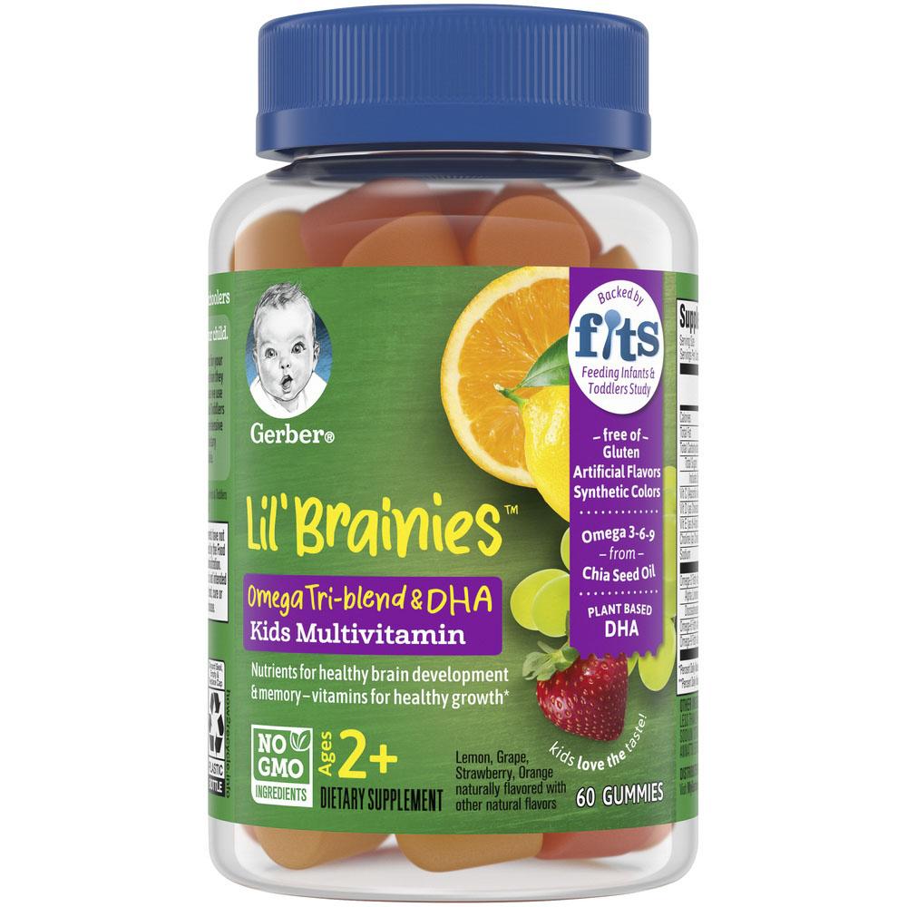 거버 릴 브레인 어린이오메가 3 트라이-블렌드 & DHA 멀티비타민 레몬 그레이프 스트로베리 오렌지 구미, 60개입, 1개