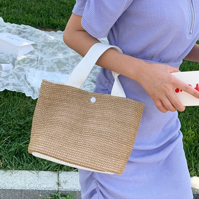 데일리 라탄 에코백 핸드백 쇼퍼백 가방 ( 30대 20대 여자가방 브랜드 W6E0149)