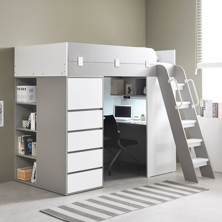 e스마트 하우스 수납서랍장 2층 벙커침대 풀세트, 그레이