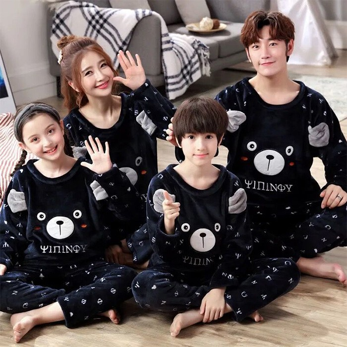 남여아동 홈웨어 친자복 3인 잠옷 코럴기모 세트 가족