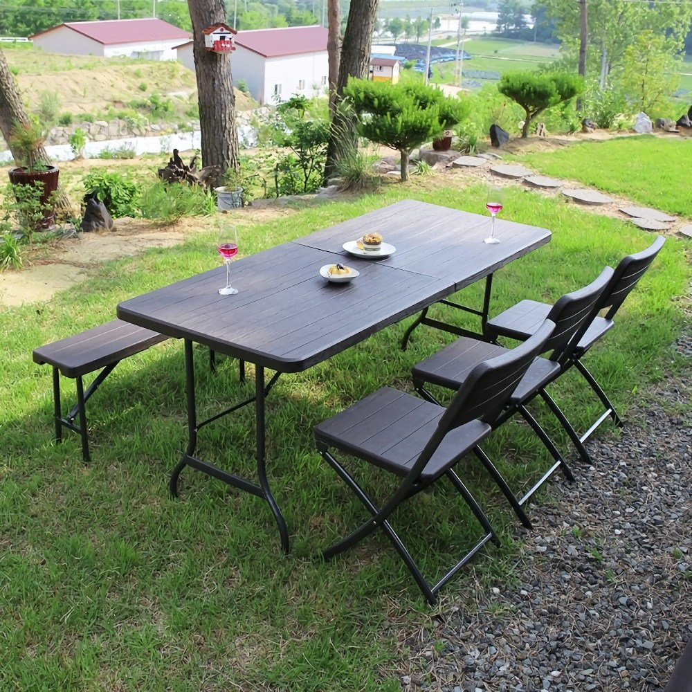 아르망 1800 접이식 테이블+벤치+아르세의자 3개 세트