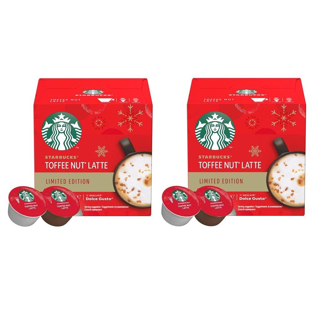 Starbucks 스타벅스 토피넛 라떼 네스카페 돌체 구스토 캡슐 커피 Toffee Nut Latte Coffee 6개입 2팩, 1세트