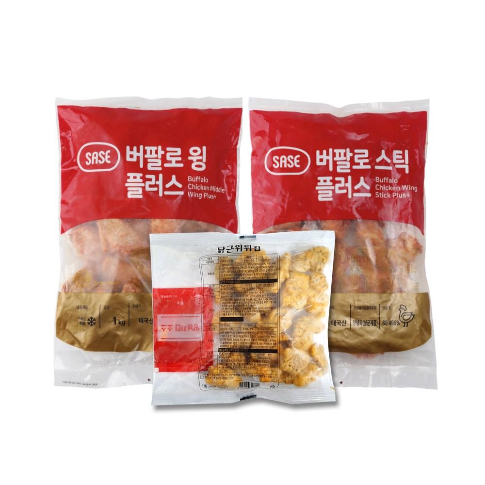비비수산 사세 버팔로윙1kg+버팔로스틱1kg+근위후라이드200g, 1개