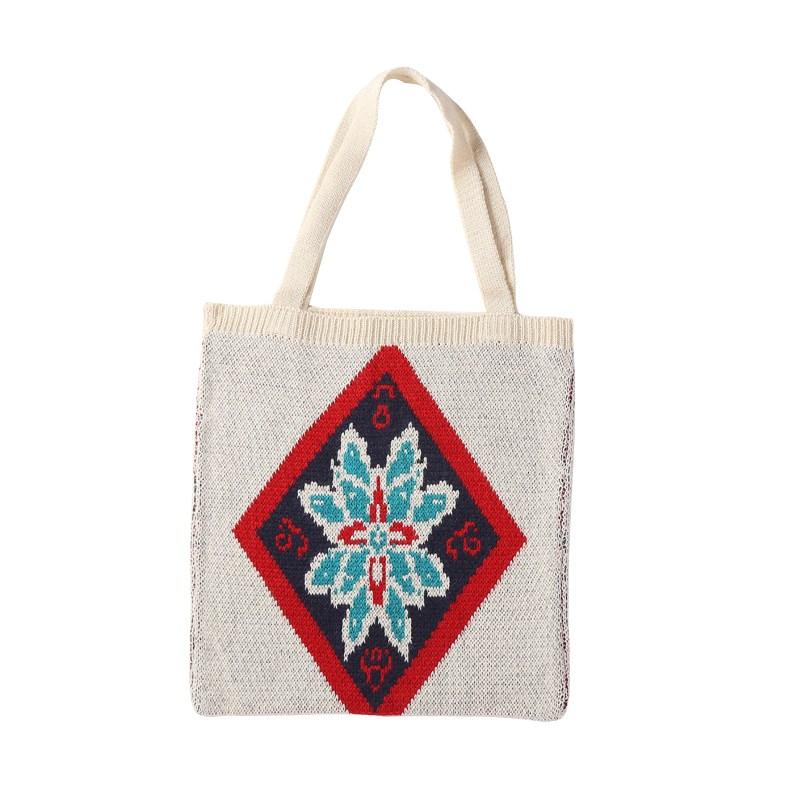 여성 가방 다이아몬드 꽃 뜨개질 니트 데일리 에코백