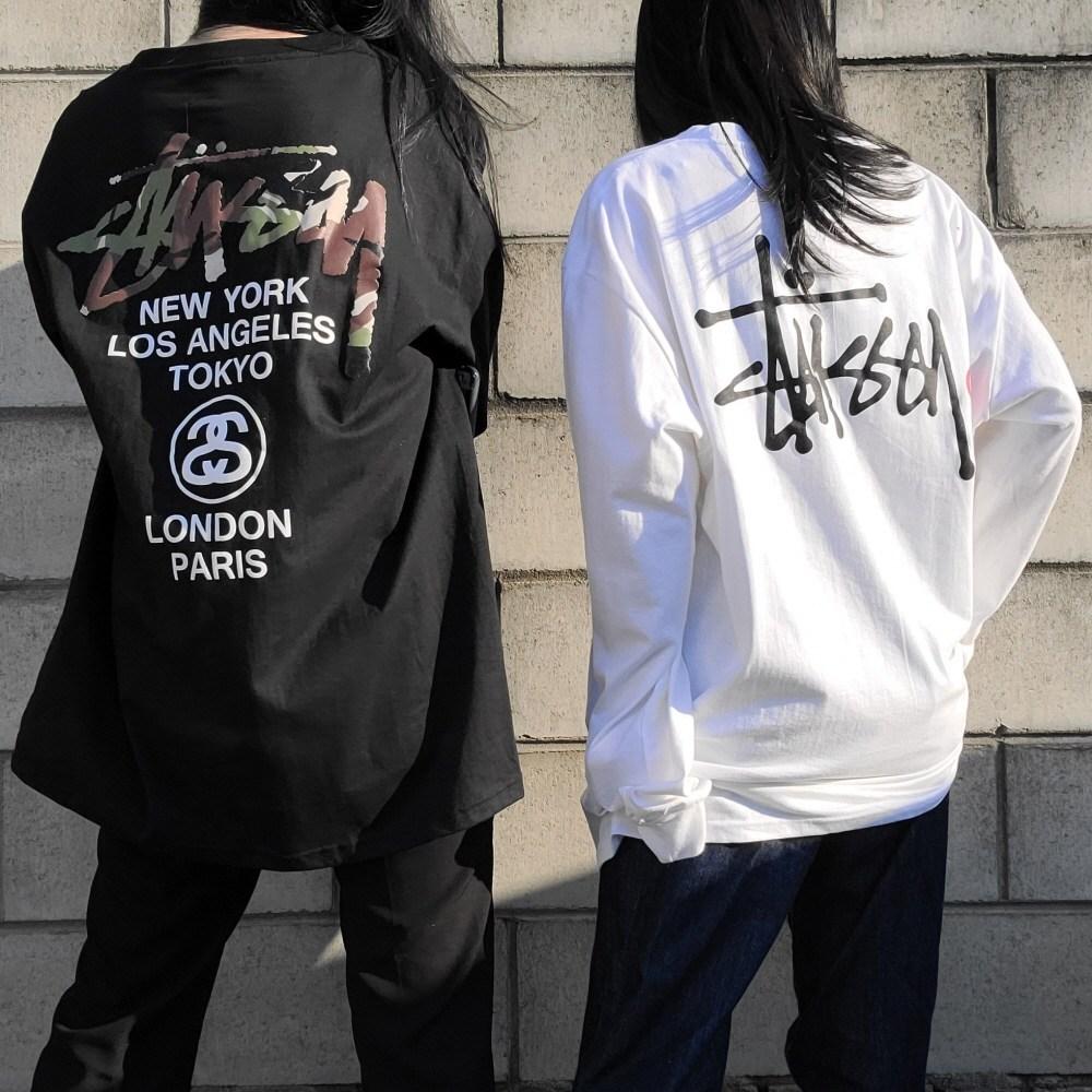 스투시 긴팔 티셔츠 롱슬리브 베이직 로고 월드투어 카모 2종 블랙 화이트 2컬러 국내배송