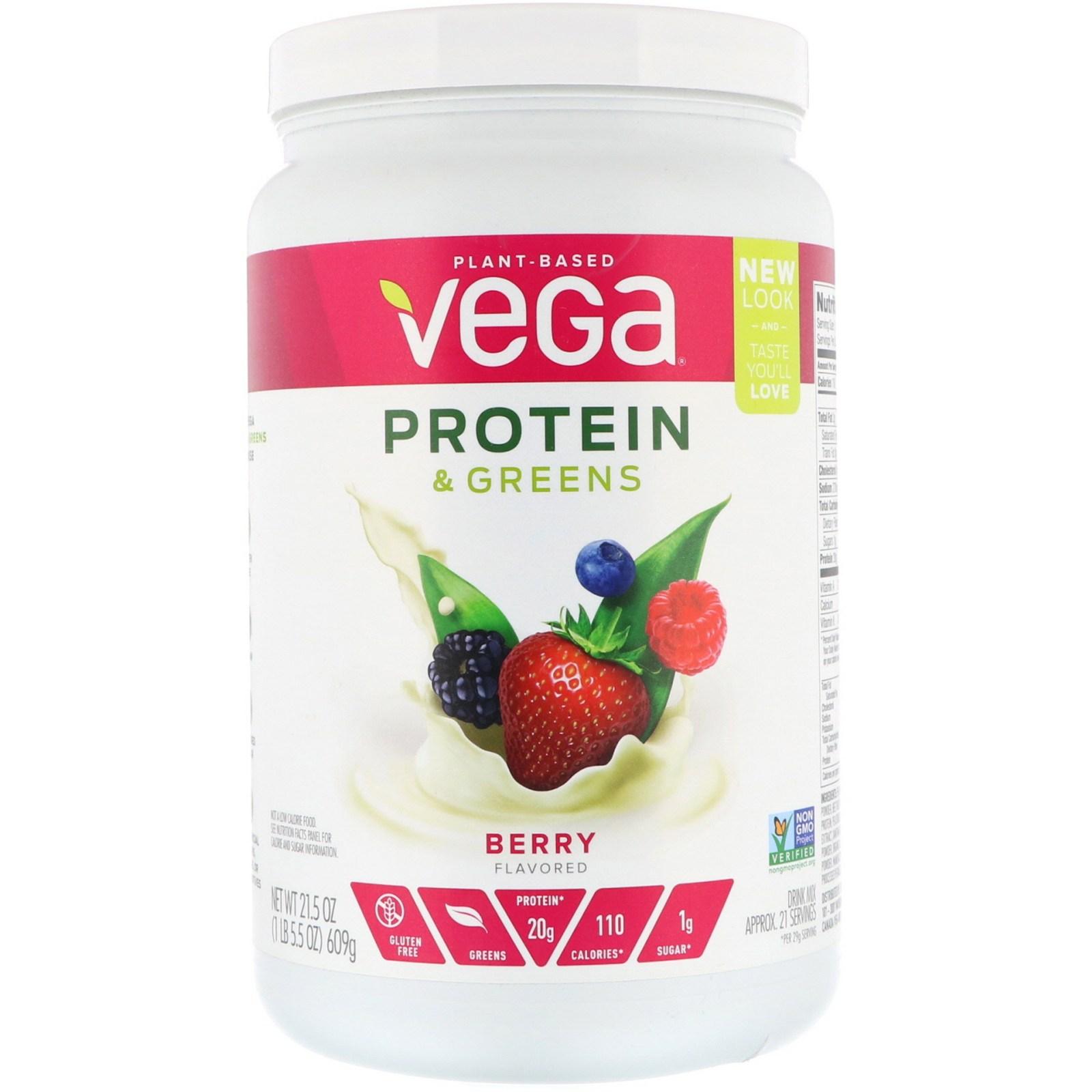 베가 프로틴 앤 그린스 베리 맛 21.5 oz 609g 식물성 단백질, 1개, -