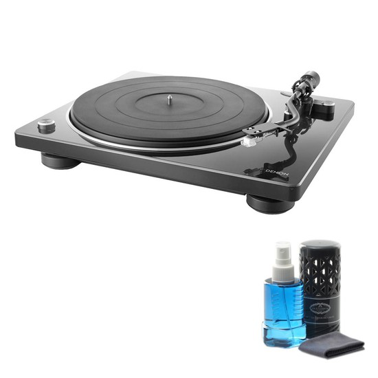 데논 DP-400 턴테이블 + LP/CD 클리닝액, 블랙