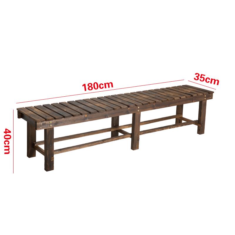 원목 벤치 정원 방부 나무 야외 의자 벤치 욕실 벤치, 두껍게 보강, 길이 180cm (양봉 6다리)