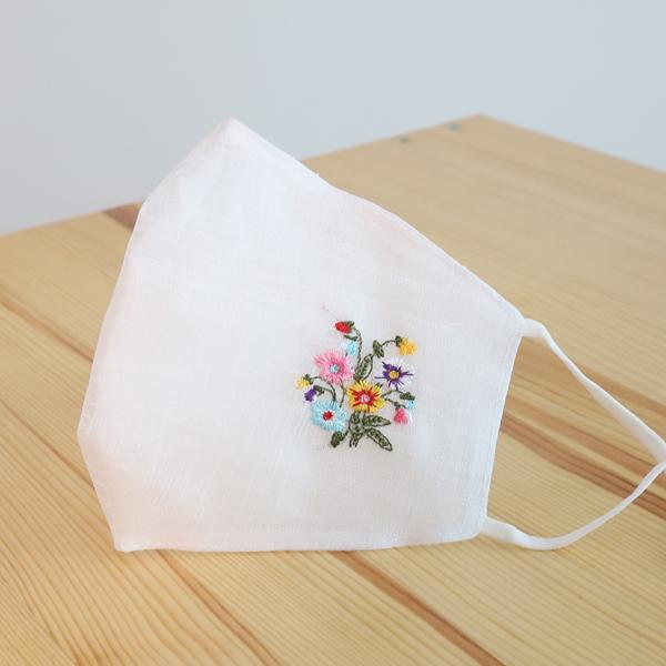 하율공방 4계절 시원하고 숨쉬기편한 모시 꽃자수 마스크 성인용