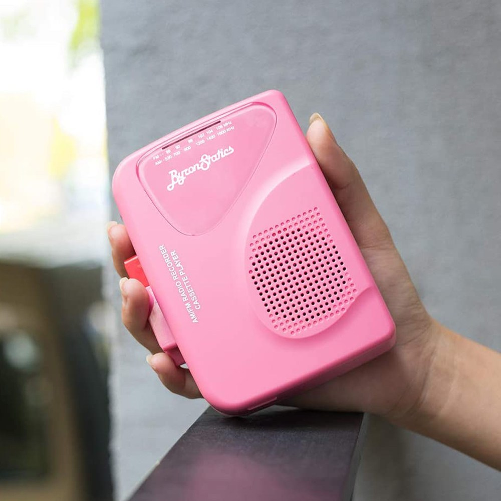 Byron Statics 레트로 워크맨 카세트플레이어 라디오 감성 레코더 녹음기 휴대용, Pink, Byron Statics 워크맨