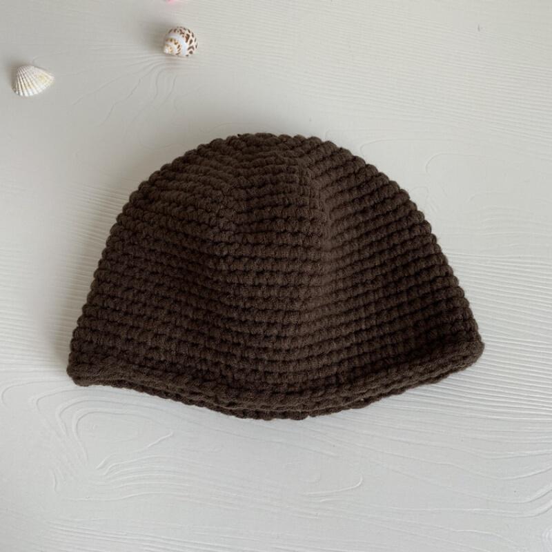 가을 겨울 수 제 과 피 모자 트 렌 디 남녀 쇼트 니 트 비 니 후드 후드 모자 모자 중 거사 보온 모 커피 프 리 사이즈 로 머리 둘레 (54 - 58cm) 에 적합 합 니 다.