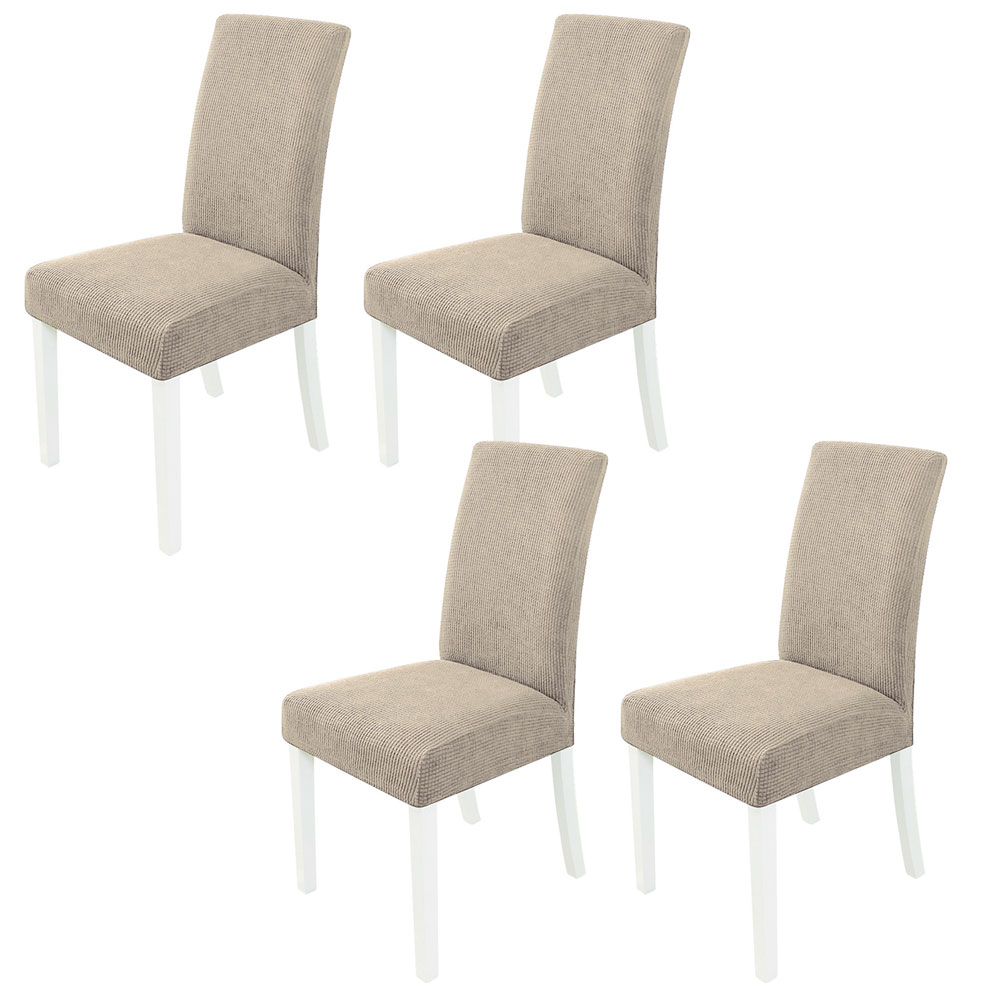 민스리빙 모던 와플 의자커버 4P 식탁 의자 시트 방석, 베이지 4개